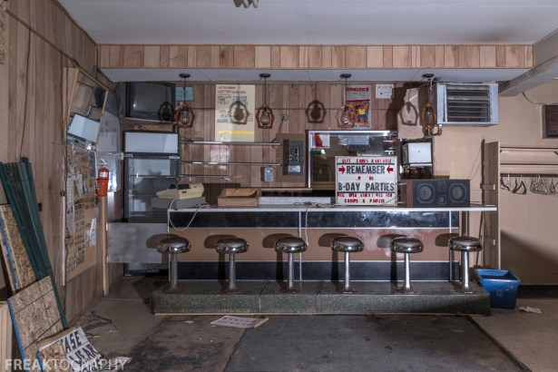 Urban Exploration Photography of an abandoned art deco bowling alley. an abandoned time capsule bowling alley