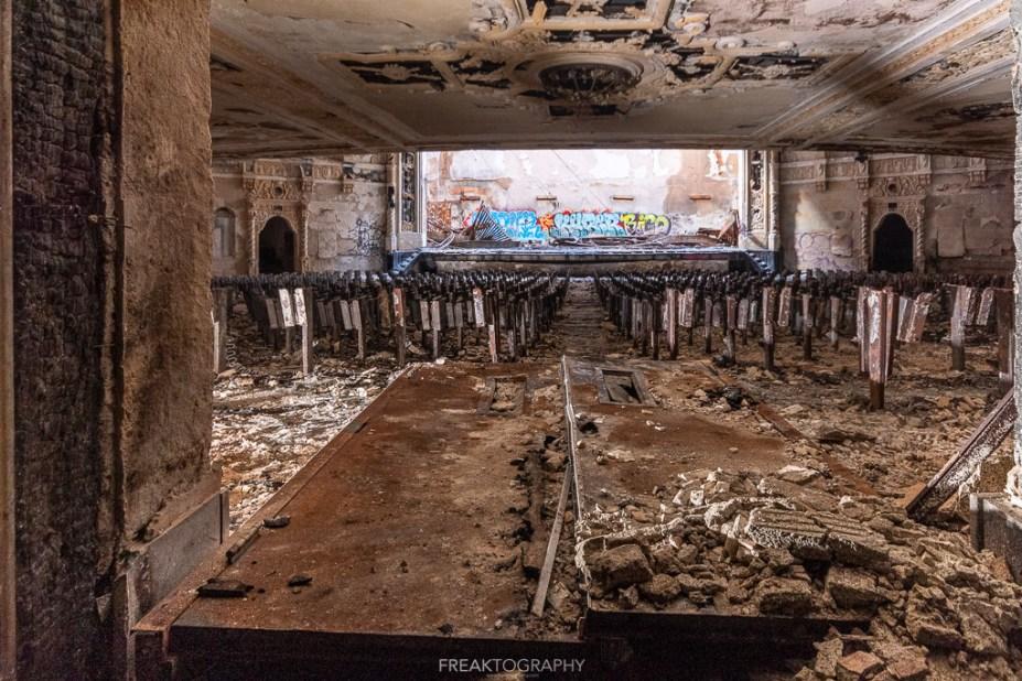 abandoned detroit cooley high school auditorium door