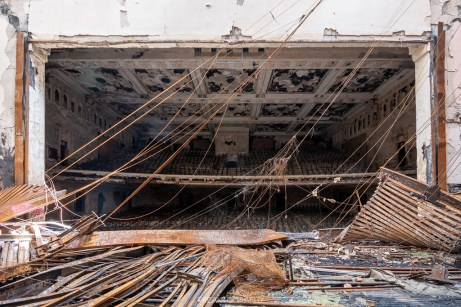 abandoned detroit cooley high school auditorium stage