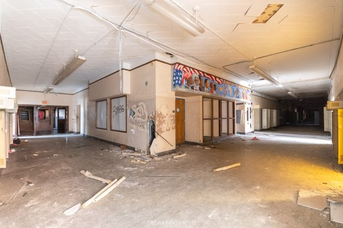 abandoned detroit cooley high school double corridor