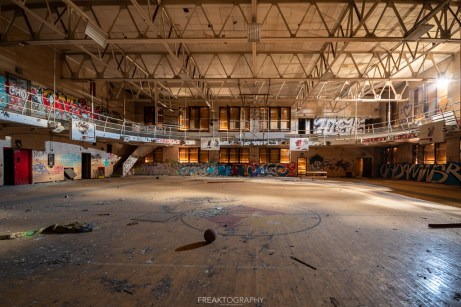 abandoned detroit cooley high school gym wide