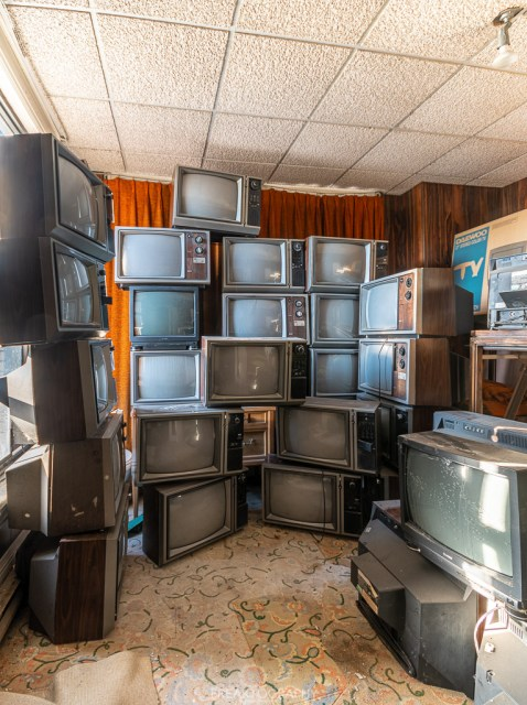 Abandoned Hotel Stacked televisions