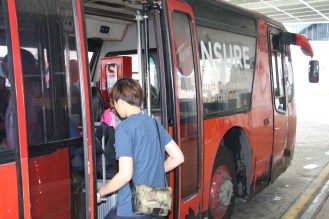 Boarding the bus to take us to the aircraft.