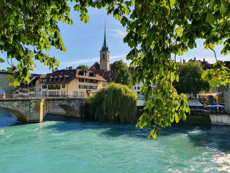 View of the Aare River in Bern, Switzerland.