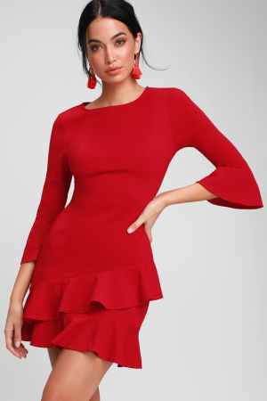 Lulus red bell sleeve dress