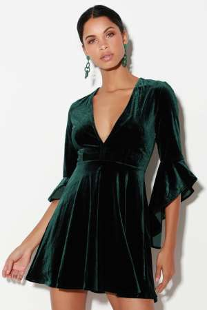 Lulus green velvet dress