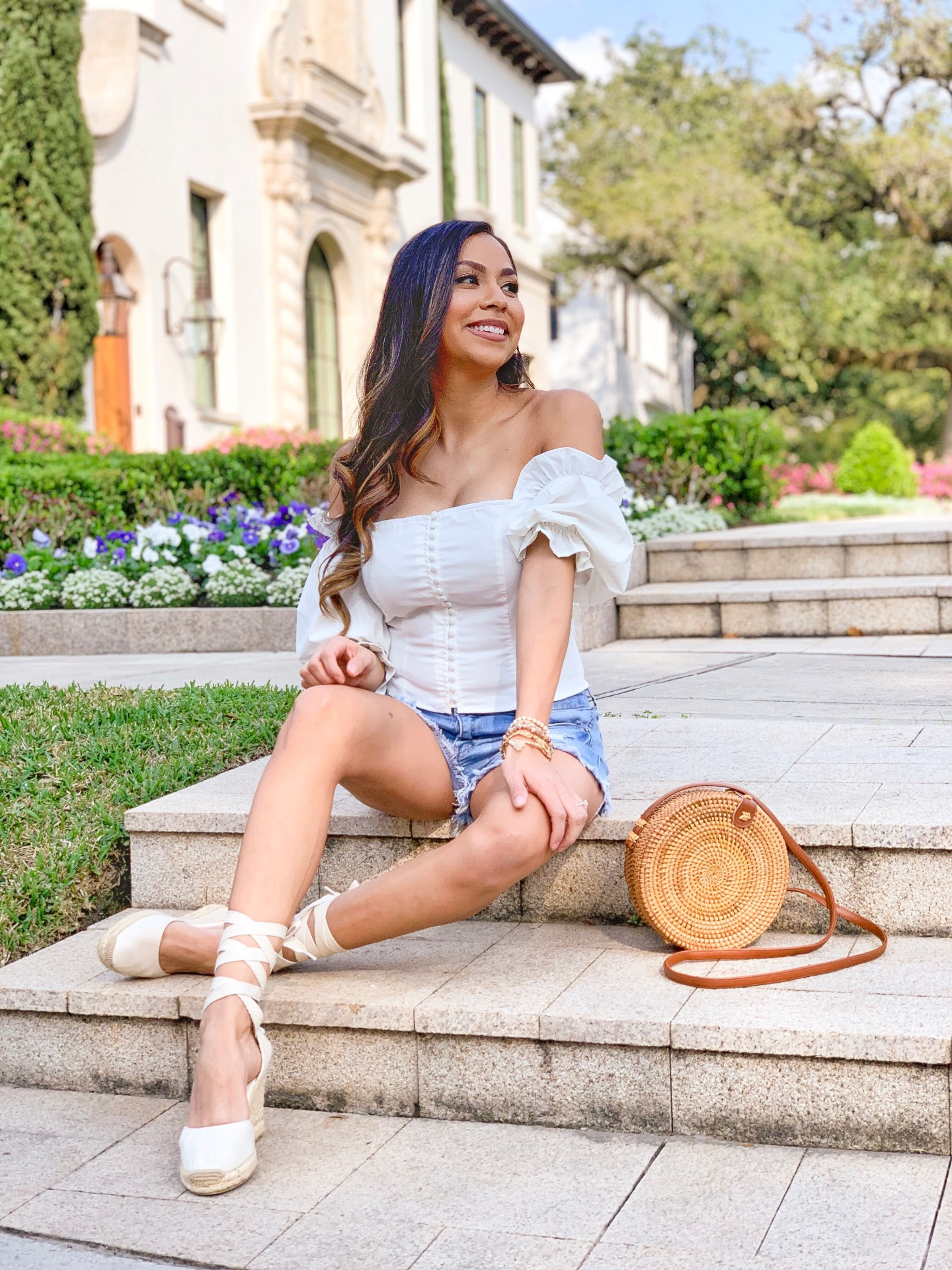 Off the shoulder top with distressed shorts