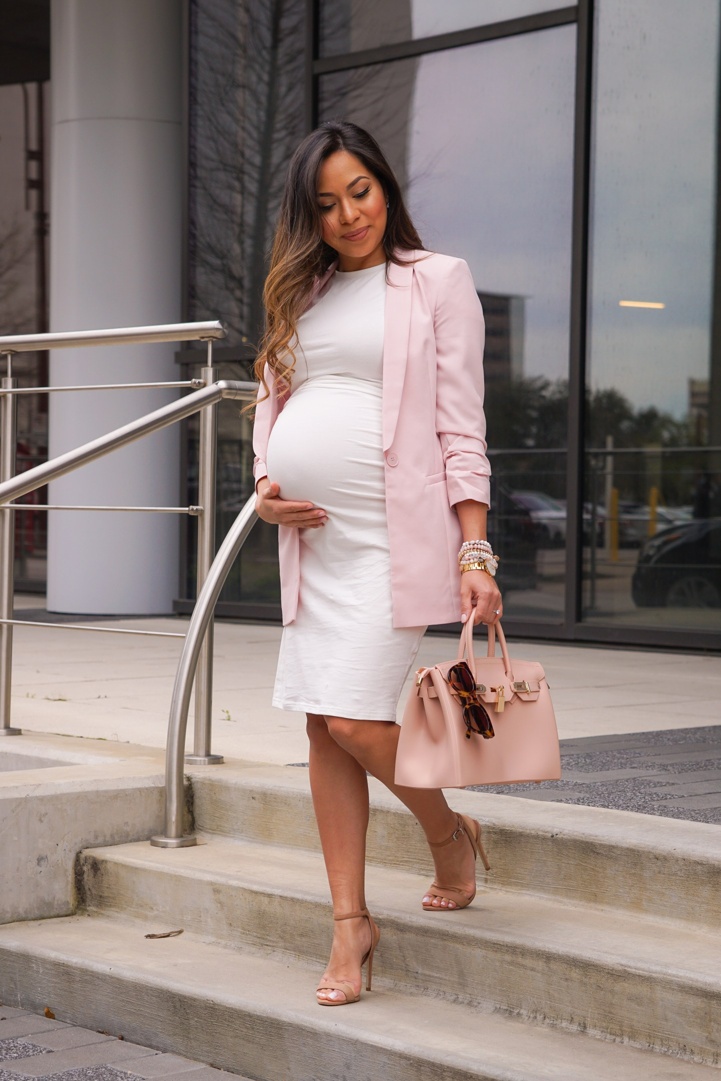 Pink blazer with a floral touch