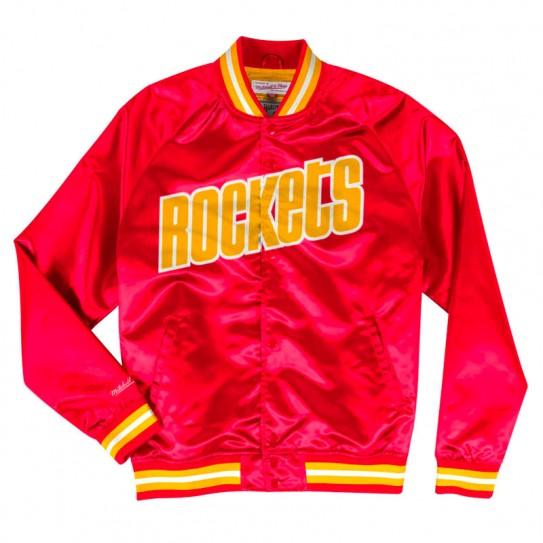 Blouson Satin Mitchel & Ness Rockets rouge jaune