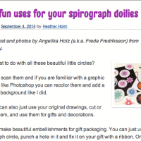 My guest post on SpiroGraphicArt.com - Five fun uses for your spirograph doilies