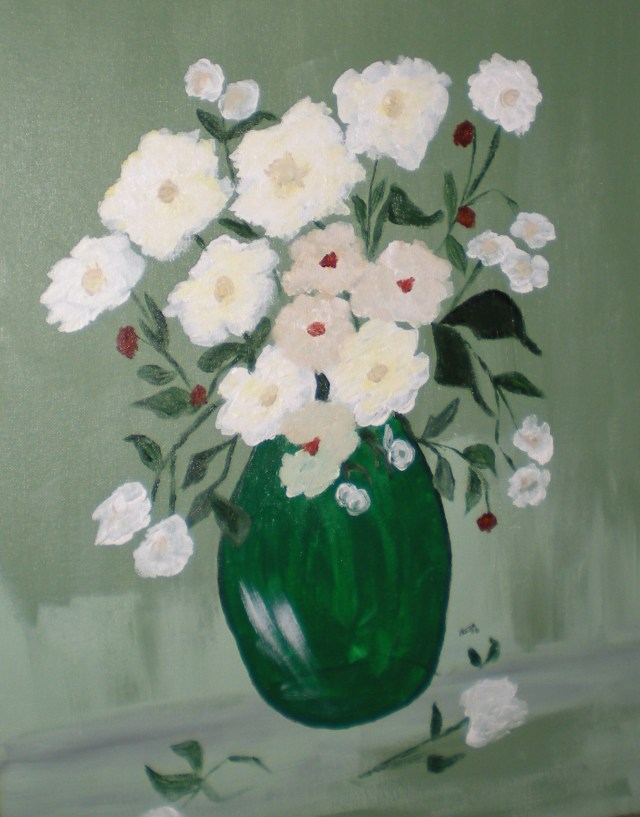 White Flowers and Green Vase