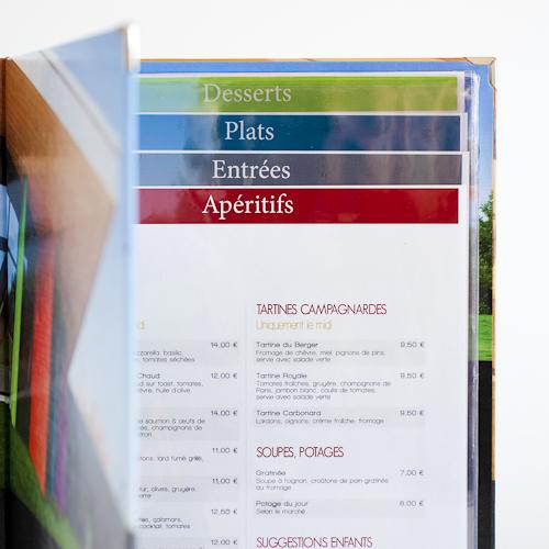 carte des menus pour restaurant
