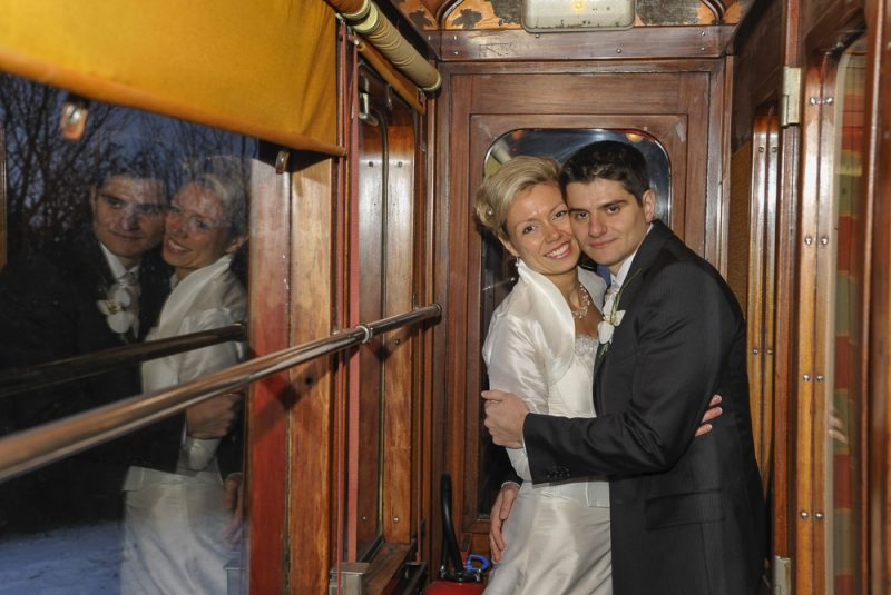 photo de mariage dans le train