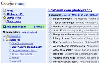 Copie d'écran du nouveau Google Reader