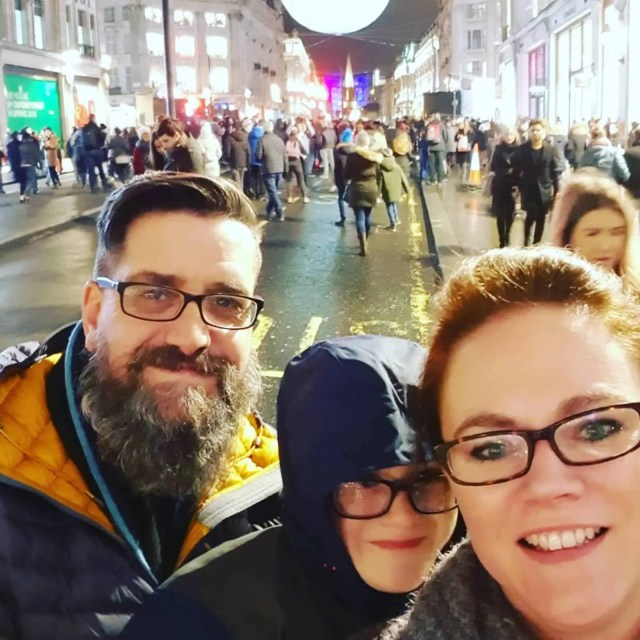 Family day out in London Regent Street Lumiere London