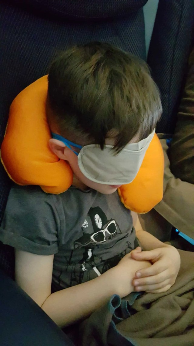 2 in 1 travel pillow to allow kids to sleep on a flight