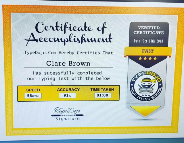 Free typing test and certificate from Type Dojo
