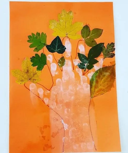 Leaf tree with hand print - fall leaves painting