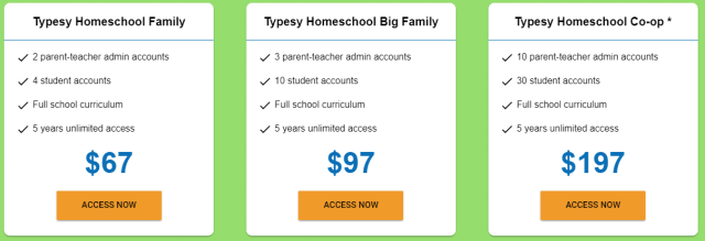 Typsey Homeschool Costs