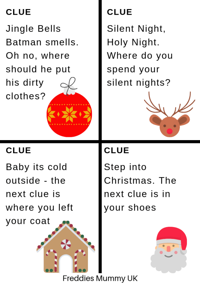 Christmas Treasure Hunt Clues - Printables