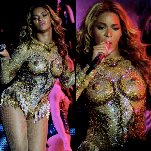 Beyonce-Gold Nipple-Bodysuit