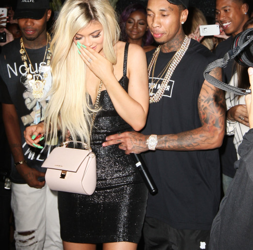 Tyga Surprises Kylie Jenner with a brand new Ferrari for her 18th Birthday at Bootsy Bellows