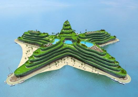 Projet d'île flottante. Architect Koen Olthuis ñ Waterstudio.NL Developer Dutch Docklands - www.dutchdocklands.com