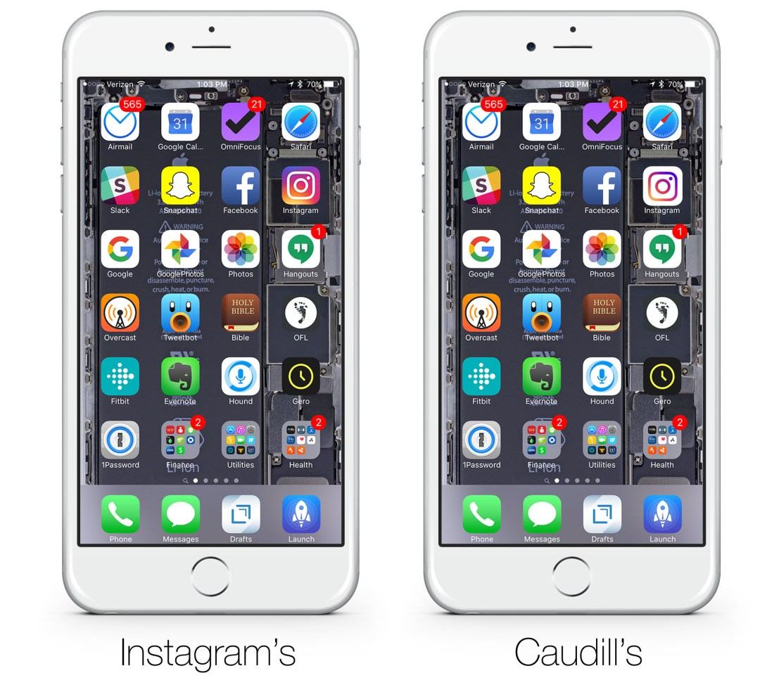 Instgram icon phone layout