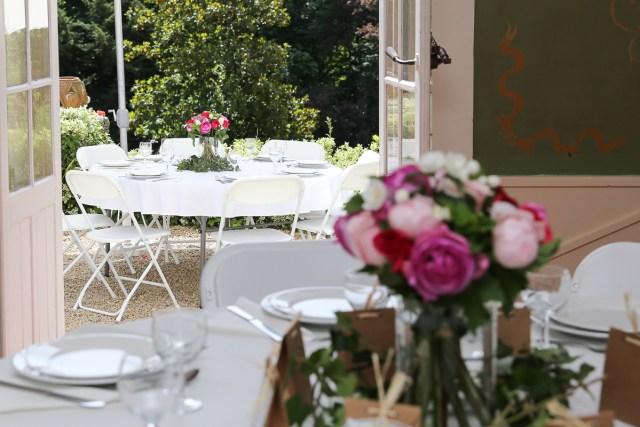 bapteme fleurs couleur beau roses ferte sous jouarre enclos montplaisir decoration de table ferte sous jouarre