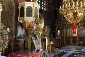 The interior of the church of St. Panteleimon in Siana