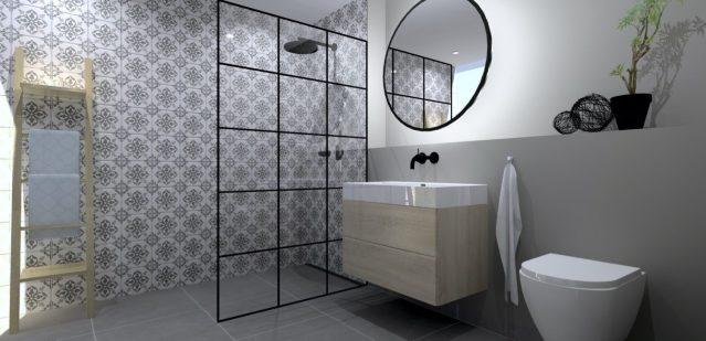 Baderum i sort/hvidt design