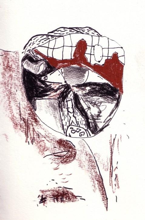Paysage clos, feutre et sanguine, Blaize