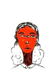 Femme 3 yeux, encre sur papier, Blaize
