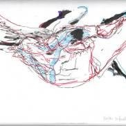 vache volante, dessin, collage, Blaize