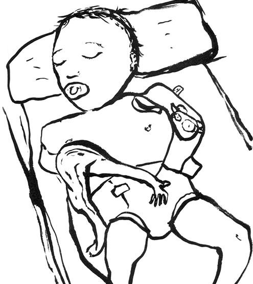 bébé et tétine, encre, papier, Blaize