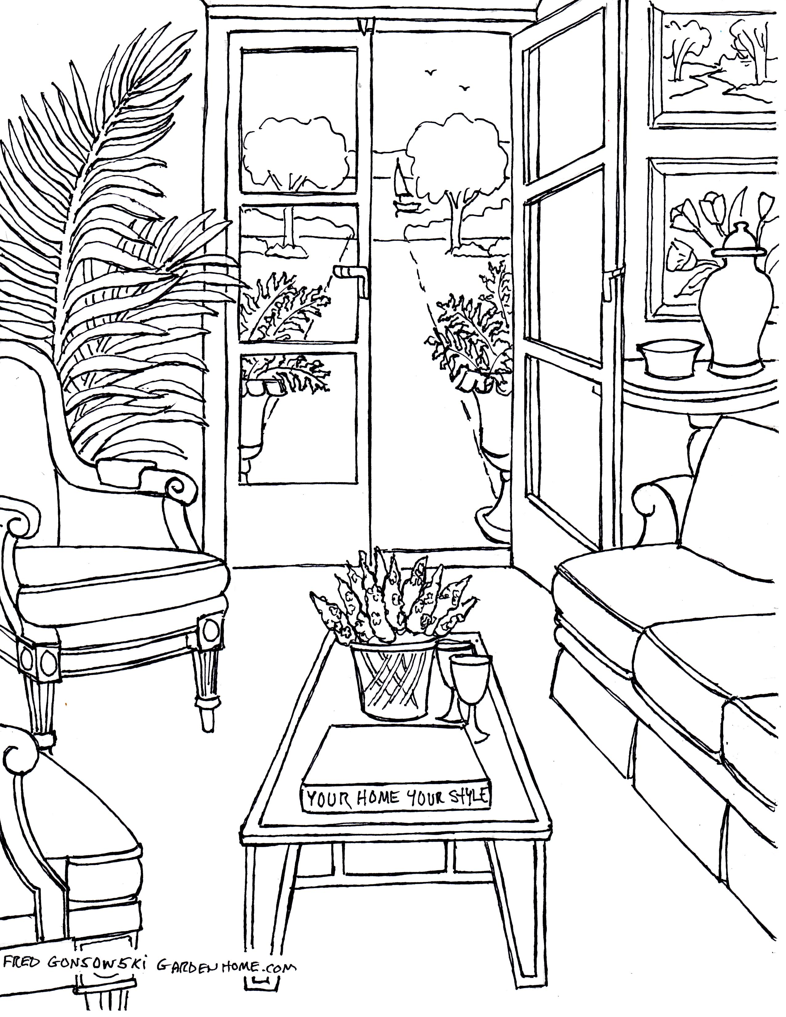 Living Room Sheet Preschool Coloring Pages