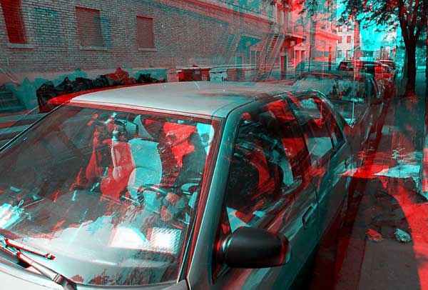 Parked Cars, 1993, stereo photo by Fred Hatt