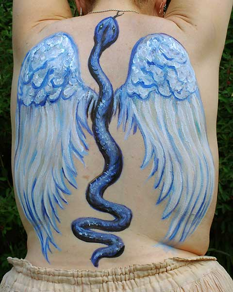 Winged Serpent, 2005, bodypaint and photo by Fred Hatt