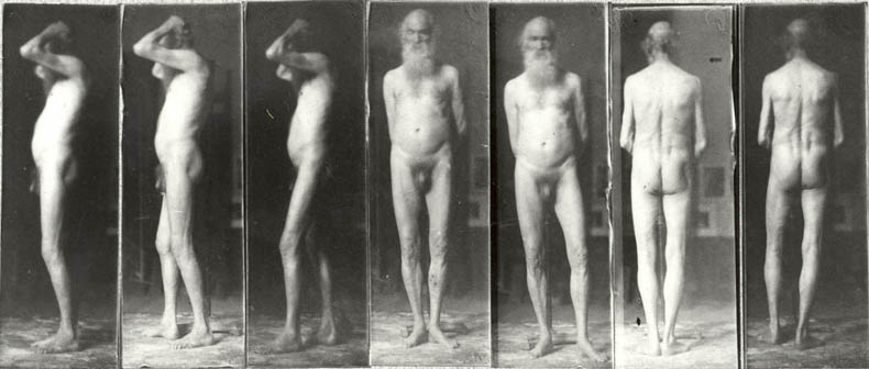 Old man, seven photographs, c. 1885, photo by Thomas Eakins