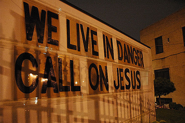 We Live in Danger, August, 2004, photo by Fred Hatt