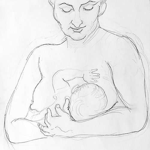 SG and child pencil drawing 5, 2008, by Fred Hatt