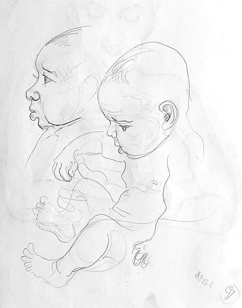 SG and child pencil sketch 06, 2008, by Fred Hatt