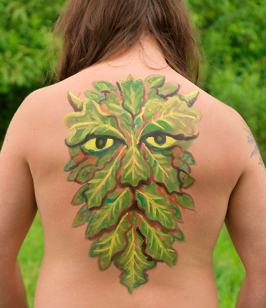 Green Man, 2009, bodypaint and photo by Fred Hatt
