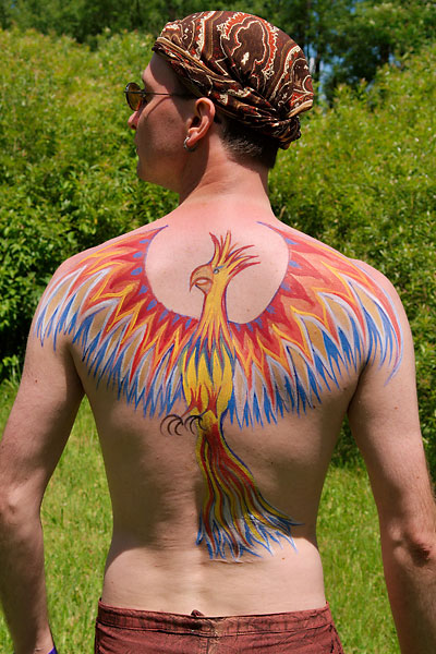 Phoenix, 2009, bodypaint and photo by Fred Hatt