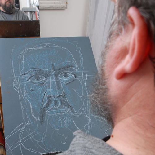 Self, 2009, by Fred Hatt, in progress at 7:30