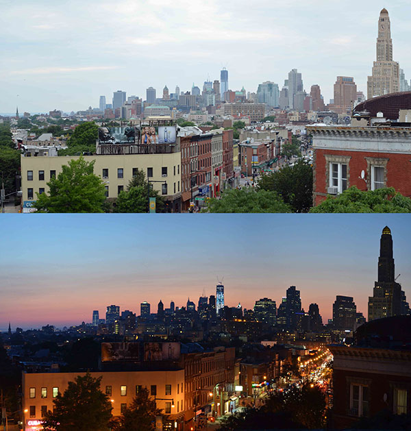 View from Flatbush Avenue, by Day and by Dusk, 2012, photo by Fred Hatt