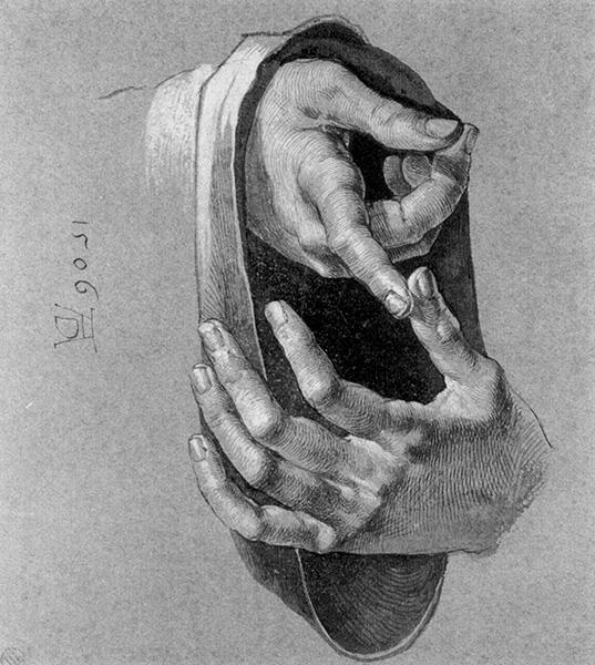 Study of Hands, 1506, by AlbrechtDürer