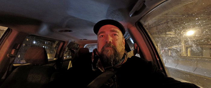 Self Portrait Driving, 2014, photo by Fred Hatt