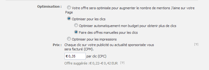Facebook Ads - Tarification CPC