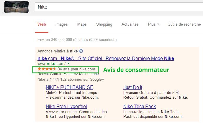 Google-Adwords---Avis-consommateur---Nike